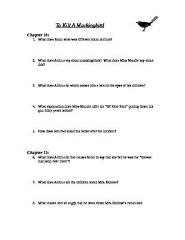 To Kill A Mockingbird chapters 10-11 study guide