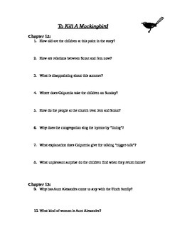 To Kill A Mockingbird chapters 12-13 study guide