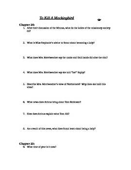 To Kill A Mockingbird chapters 24-25 study guide