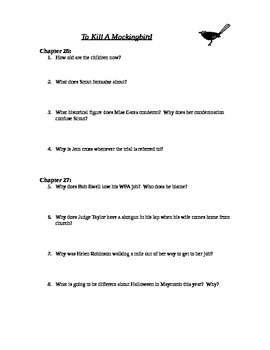 To Kill A Mockingbird chapters 26-27 study guide