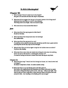 To Kill A Mockingbird chapters 30-31 study guide