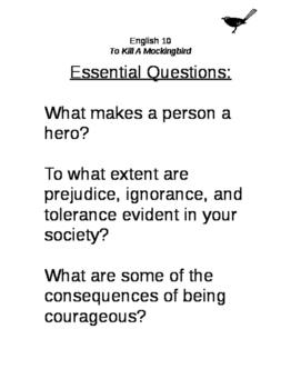 To Kill A Mockingbird essential questions