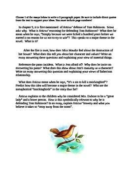 To Kill a Mocking Bird Part One Essay Writing Promts