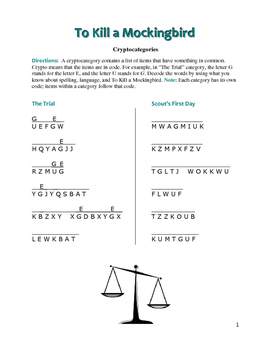 To Kill a Mockingbird: 10 Cryptocategory Word Puzzles—Unique Spelling Challenge!