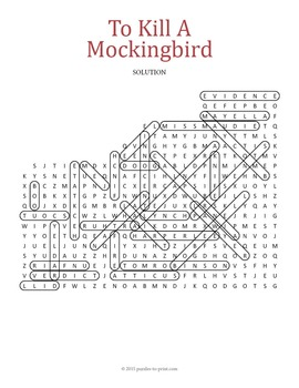 to kill a mockingbird word search puzzle by puzzles to print tpt. Black Bedroom Furniture Sets. Home Design Ideas