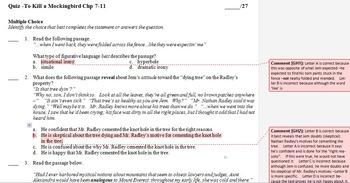 To Kill a Mockingbird Chapters 7 - 11