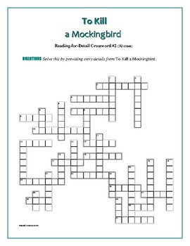 To Kill a Mockingbird: 4 Reading-for-Detail Crosswords—Fun Competition!