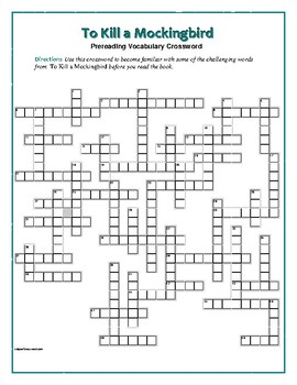 To Kill a Mockingbird: 50-word Prereading Vocab Xword: Use with Bookmarks Plus!