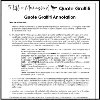 To Kill a Mockingbird Activity With Quote Analysis & Poster Graffiti
