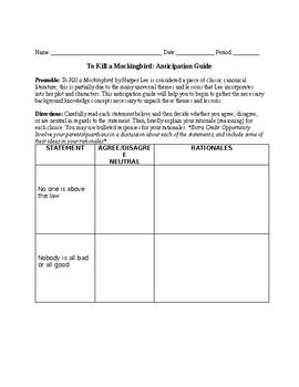 To Kill a Mockingbird Anticipation Guide