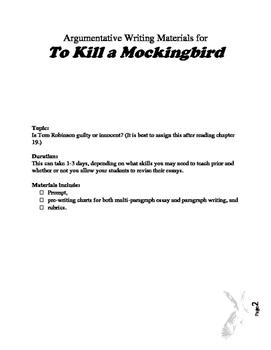 To Kill a Mockingbird Argumentative Prompt