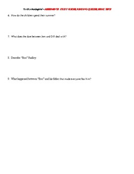 To Kill a Mockingbird Assessment Bundle