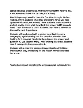 To Kill a Mockingbird: Ch15 Close Read/Writing Prompt
