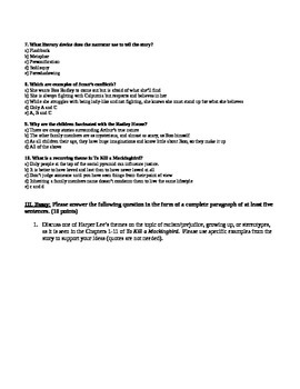 To Kill a Mockingbird Chapter 1-11 Test