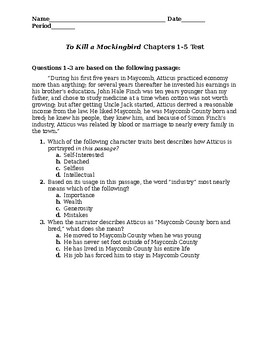 To Kill a Mockingbird Chapter 1-5 Test + Key + Studyguide