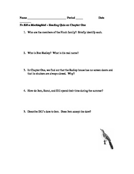 To Kill a Mockingbird Chapter 1 Reading Quiz
