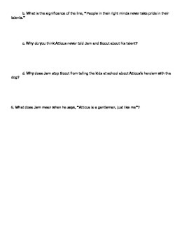 To Kill a Mockingbird Chapter 10 Discussion Questions