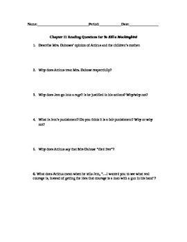 To Kill a Mockingbird Chapter 11 Study Guide Questions