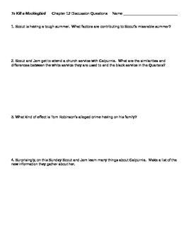 To Kill a Mockingbird Chapter 12 Discussion Questions