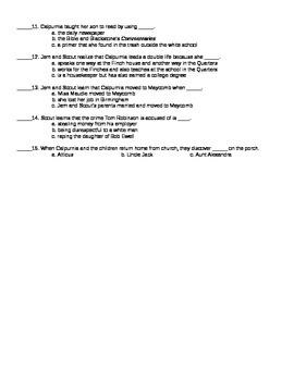 To Kill a Mockingbird Chapter 12 Reading Quiz