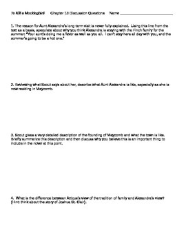 To Kill a Mockingbird Chapter 13 Discussion Questions