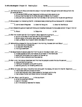 To Kill a Mockingbird Chapter 16 Reading Quiz