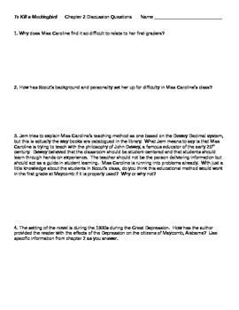 To Kill a Mockingbird Chapter 2 Discussion Questions