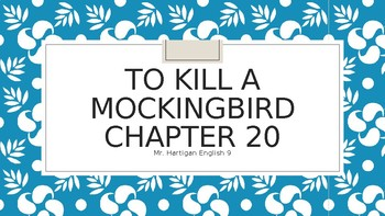 To Kill a Mockingbird Chapter 20 Visual Guide