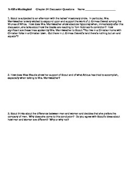 To Kill a Mockingbird Chapter 24 Discussion Questions