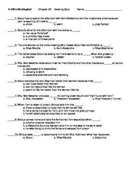 To Kill a Mockingbird Chapter 24 Reading Quiz