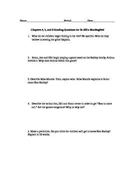 To Kill a Mockingbird Chapter 4, 5, & 6 Study Questions