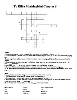 To Kill a Mockingbird Chapter 6 Crossword Puzzle