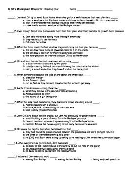 To Kill a Mockingbird Chapter 6 Reading Quiz