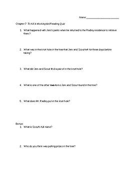 To Kill a Mockingbird Chapter 7 Reading Quiz