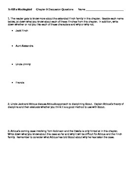 To Kill a Mockingbird Chapter 9 Discussion Questions