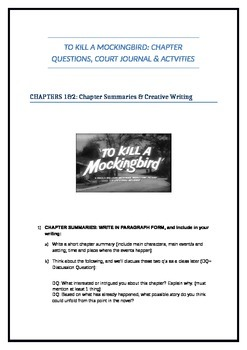 Engaging and insightful q's and activities for To Kill a Mockingbird (22 pages)