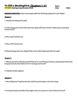 To Kill a Mockingbird Chapter-by-Chapter Comprehension Questions & Answer Key