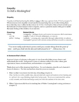 To Kill a Mockingbird Chapters 1-4 Empathy Lesson