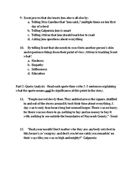 To Kill a Mockingbird Chapters 1-5 Quiz
