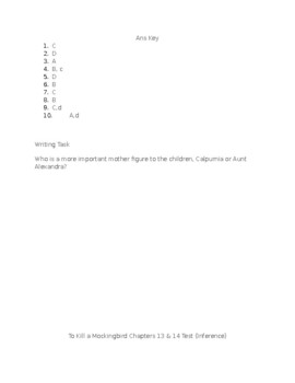 To Kill a Mockingbird Chapters 13 & 14 Test (Inference)