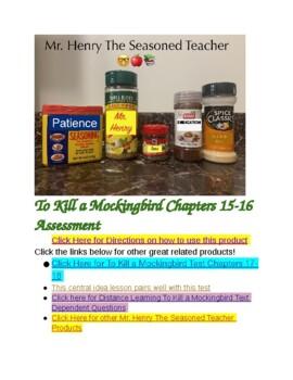To Kill a Mockingbird Chapters 15 & 16 Test (Central Idea)