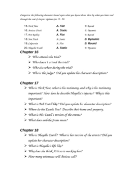 To Kill a Mockingbird Chapters 16 - 18 quiz
