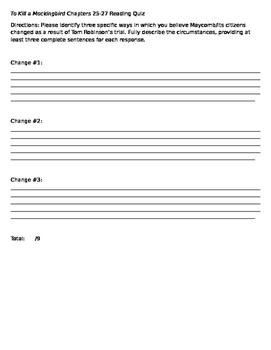 To Kill a Mockingbird Chapters 25-27 Quiz