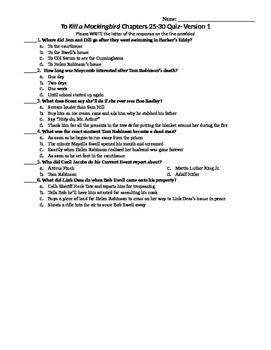 To Kill a Mockingbird Chapters 25-30 Quiz - 3 versions