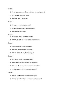 To Kill a Mockingbird Chapters 3-14 Reading Comprehension Questions