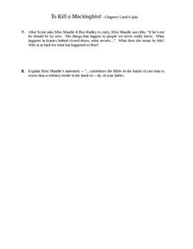 To Kill a Mockingbird Chapters 5-6 Quiz