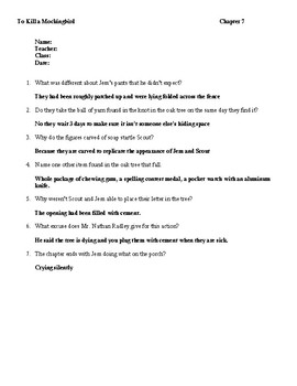 To Kill a Mockingbird Chapters 6 and 7 Quiz