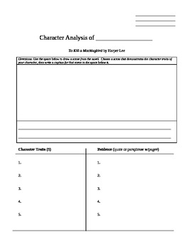 To Kill a Mockingbird Character Analysis Diary Entry
