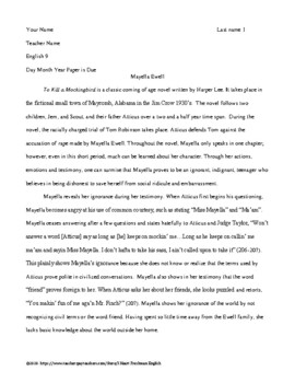To Kill a Mockingbird Character Analysis Paper with Rubric and Example