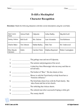 To Kill A Mockingbird Worksheets: To Kill a Mockingbird Character Recognition    by Jessica Collett    ,